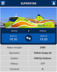A smartphone app shows the ships visiting Port of Tallinn